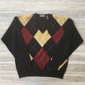 Lord & Taylor Men's Argyle 100% Lambswool Sweater